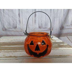 Halloween Glass Pumpkin Jack O Lantern Tea Light C